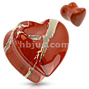 Heart Shaped Red Jade Natural Stone Saddle Plug