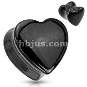 Heart Shaped Black Onyx Natural Stone Saddle Plug
