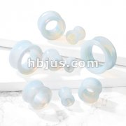 Semi Precious Opalite Stone Double Flared Saddle Tunnel
