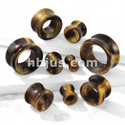 Semi Precious Tiger Eye Stone Double Flared Saddle Tunnel