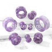 Semi Precious Amethyst Stone Double Flared Saddle Tunnel