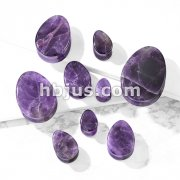 Tear Drop Semi Precious Amethyst Stone Double Flared Saddle Plugs