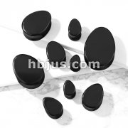 Tear Drop Semi Precious Black Agate Stone Double Flared Saddle Plugs
