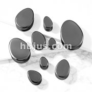 Tear Drop Semi Precious Hematite Stone Double Flared Saddle Plugs