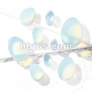 Tear Drop Semi Precious Opalite Stone Double Flared Saddle Plugs