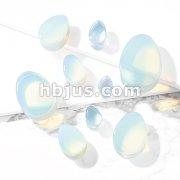 Tear Drop Semi Precious Opalite Stone Double Flared Saddle Plugs