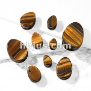 Tear Drop Semi Precious Tiger Eye Stone Double Flared Saddle Plugs