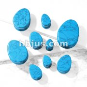 Tear Drop Semi Precious Turquoise Stone Double Flared Saddle Plugs