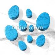 Tear Drop Semi Precious Turquoise Stone Double Flared Saddle Plugs