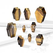 Coffin Double Flare Plugs Tiger Eye Natural Stone
