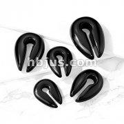 Black Agate Semi Precious Stone Keyhole Hanger Taper