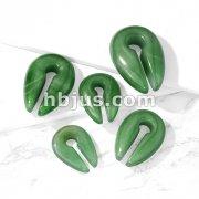 Jade Green Semi Precious Stone Keyhole Hanger Taper