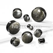 Golden Obsidian Natural Stone Convex Double Flared Plugs