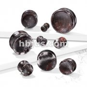 Concave Natural Bloodstone Double Flare Plugs