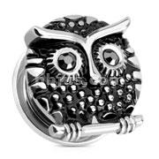 Owl with Gemmed Black Eyes 316L Surgical Steel Screw Fit Plug