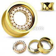 Pearl Paved Rose Gold IP Removable Disc Centered Gold IP over 316L Surgical Steel Double Flared Screw Fit Tunnels