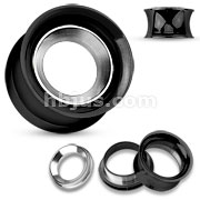 Mirror Polished Removable Steel Disc Centered Black IP Over 316L Surgical Steel Double Flared Screw Fit Tunnels