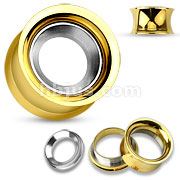 Mirror Polished Removable Steel Disc Centered Gold IP Over 316L Surgical Steel Double Flared Screw Fit Tunnels