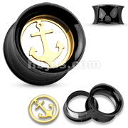 Gold IP Removable Anchor Centered Black IP Over 316L Surgical Steel Double Flared Screw Fit Tunnels