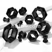 Hexa Screw Fit BlackPVD Over 316L Surgical Steel Flesh Tunnels