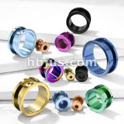 Screw Fit Flesh Tunnels Titanium IP Over 316L Surgical Stainless Steel