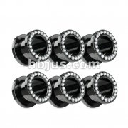 60 pcs Black IP Over 316L surgical Steel Flesh Tunnel with Lined Gem Rim Bulk Pack (10pcs x 6 sizes)