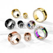 Clear Gem Set Rim PVD Over 316L Surgical Steel Screw Fit Flesh Tunnels