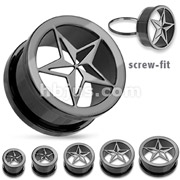 Punk Star Screw Fit Tunnel Plug Blackline Titanium IP Over Surgical Steel