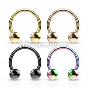 80 Pcs PVD Over 316L Surgical Steel Horseshoe, Circular Barbells with Bal Ends Bulk Pack (20 pcs x 4 Colors)