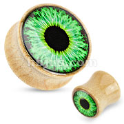 Organic Wood Saddle Plug with Green Eyeball Print Dome Top