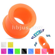 Ultra Soft Silicone Flexible Double Flat Flared Tunnel Plug with Vibrant Colors
