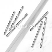 10pc Pack 316L Surgical Steel Internally Threaded Industrial Barbell Pins with 3 Threaded Holes on Bar