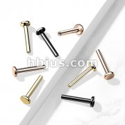 10 Pc Pack PVD Over316L Surgical Steel Internally threaded 3mm Base Flat Back Stud, Labret Post.
