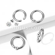 Implant Grade Titanium Captive Bead Rings with Internally Threaded Flat Round Base For Add On Fit 16ga Threaded Tops