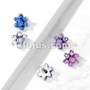 Opa Prong Set Flower 316L Surgical Steel Internally Threaded Top Parts For Labret, Dermal and More