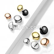10 pc Pack Round Dome 316L Surgical Steel Internally Threaded Top Parts for Labret, Dermal and More