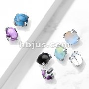 10 pc Pack Semi Precious Stone Prong Set 316L Surgical Steel Internally Threaded Top Parts