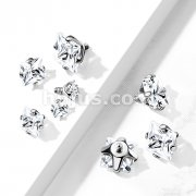 10 pc Pack Implant Grade Titanium Internally Threaded Prong Set Sqaure CZ Top Parts