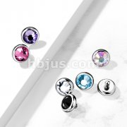 10pc Pack Implant Grade Titanium Internally Threaded Tops Crystal Flat BezelSet for Dermal, Barbell, Labret and More