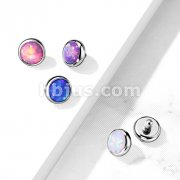 10pc Pack Implant Grade Titanium Internally Threaded Tops Opal Flat BezelSet for Dermal, Barbell, Labret and More