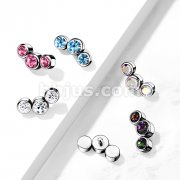 Implant Grade Titanium Internally Threaded 3 Round Swarovski Crystal Bezel Set Top Parts