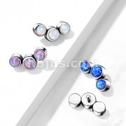 Implant Grade Titanium Internally Threaded 3 Round Opal Bezel Set Top Parts