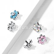 Implant Grade Titanium Internally Threaded CZ Bezel Set Flower Top Parts