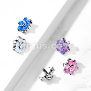 Implant Grade Titanium Internally Threaded Opal Bezel Set Flower Top Parts