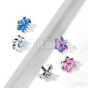 Implant Grade Titanium Internally Threaded Opal Bezel Set Flower Top Parts