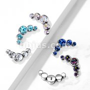Implant Grade Titanium Internally Threaded 5 Round Swarovski Crystal Bezel Set Top Parts