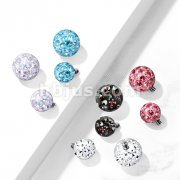 10 pc Pack Implant Grade Titanium Internally Threaded Epoxy Covered Crystal Paved Balls