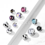 10 pc Pack Implant Grade Titanium Internally Threaded Round Swarovski Crystal Bezel Set Top Parts
