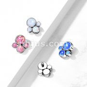 Implant Grade Titanium Internally Threaded Opal Bezel Set Pet Paw Top Parts for Dermal, Labret and More