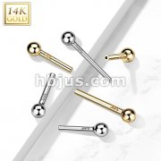 14kt Gold Threadless Push In Barbell Pins with One Fixed Ball